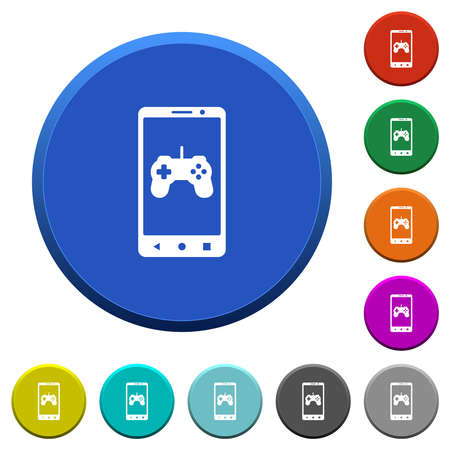 Mobile gaming round color beveled buttons with smooth surfaces and flat white icons