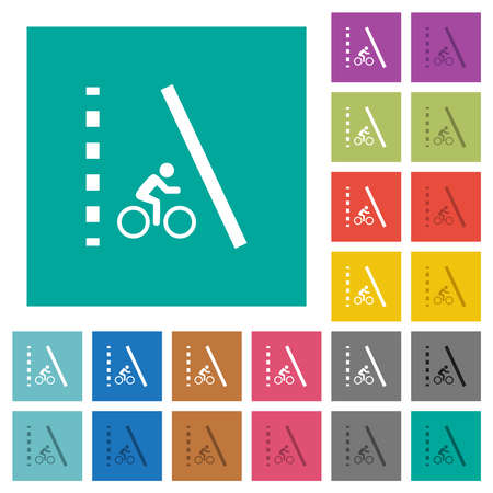 Bicycle lane multi colored flat icons on plain square backgrounds. Included white and darker icon variations for hover or active effects.