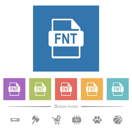FNT file format flat white icons in square backgrounds. 6 bonus icons included.