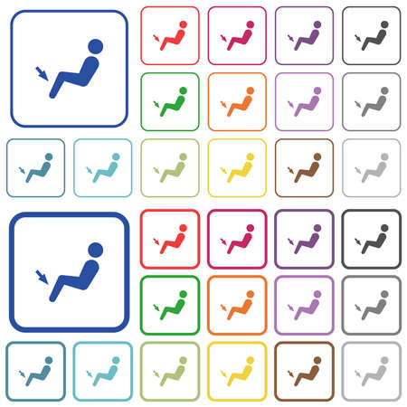 Car air flow direction foot color flat icons in rounded square frames. Thin and thick versions included. Stock Illustratie