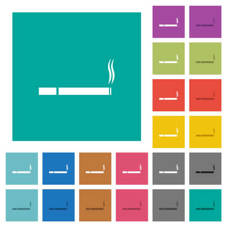Cigarette multi colored flat icons on plain square backgrounds. Included white and darker icon variations for hover or active effects. Vecteurs