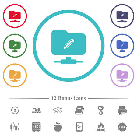 FTP edit flat color icons in circle shape outlines. 12 bonus icons included. 向量圖像