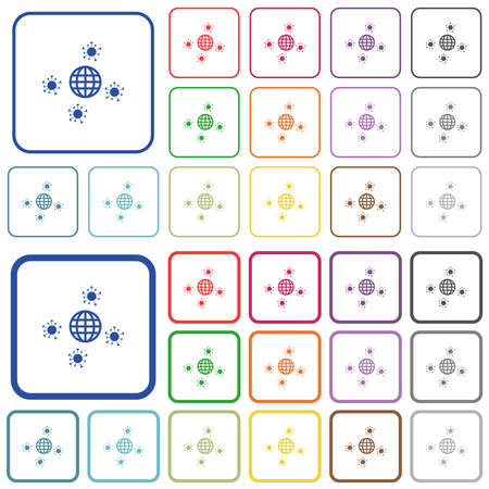 Pandemic color flat icons in rounded square frames. Thin and thick versions included.