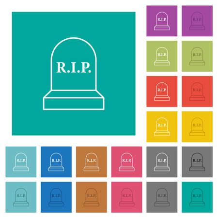 Tombstone with RIP multi colored flat icons on plain square backgrounds. Included white and darker icon variations for hover or active effects.