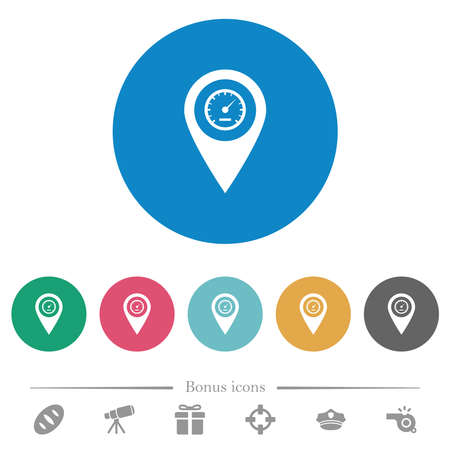 Speedcam GPS map location flat white icons on round color backgrounds. 6 bonus icons included. 向量圖像