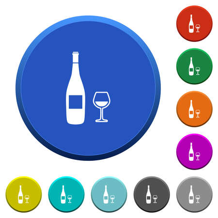 Wine bottle and glass round color beveled buttons with smooth surfaces and flat white icons 向量圖像
