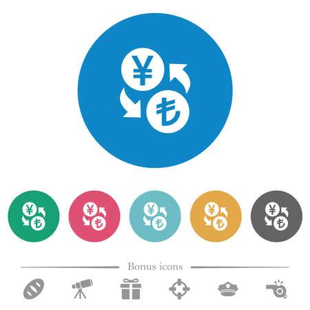 Yen Lira money exchange flat white icons on round color backgrounds. 6 bonus icons included. 向量圖像