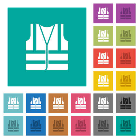 High visibility safety vest with multi colored flat icons on plain square backgrounds. Included white and darker icon variations for hover or active effects.