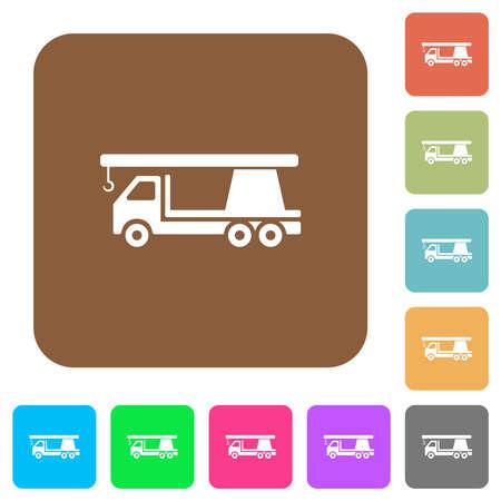 Crane truck flat icons on rounded square vivid color backgrounds. Illusztráció
