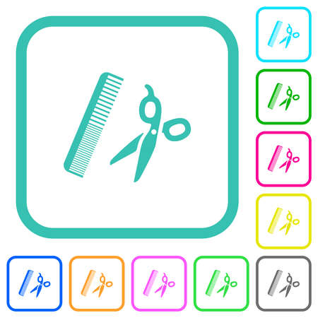 Comb and scissors vivid colored flat icons in curved borders on white background 矢量图像
