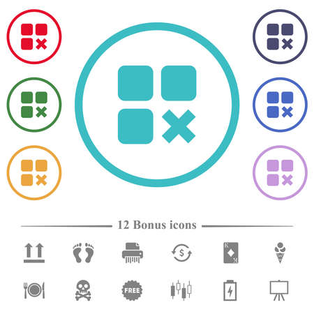 Component cancel flat color icons in circle shape outlines. 12 bonus icons included.