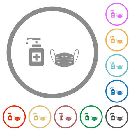 Medical face mask and hand sanitizer flat color icons in round outlines on white background