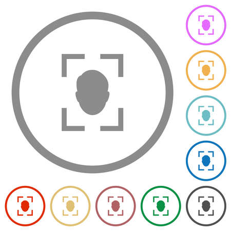 Camera selfie mode flat color icons in round outlines on white background