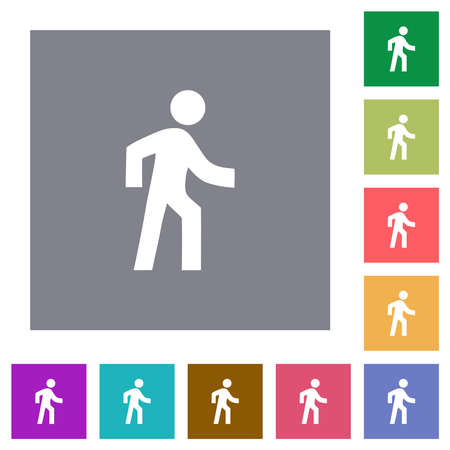 Man walking right flat icons on simple color square backgrounds
