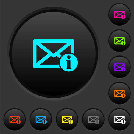 Mail information dark push buttons with vivid color icons on dark gray background