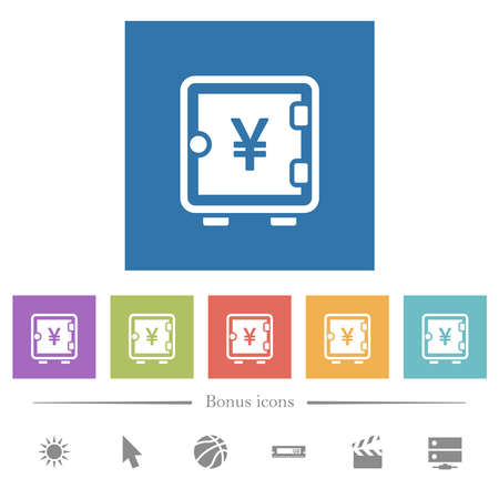 Yen strong box flat white icons in square backgrounds. 6 bonus icons included.