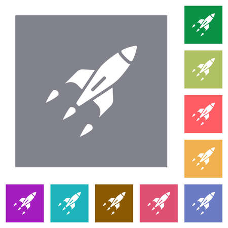 Rocket flat icons on simple color square backgrounds 矢量图像