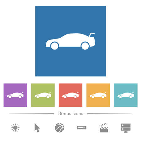 Car trunk open dashboard indicator flat white icons in square backgrounds. 6 bonus icons included. Иллюстрация