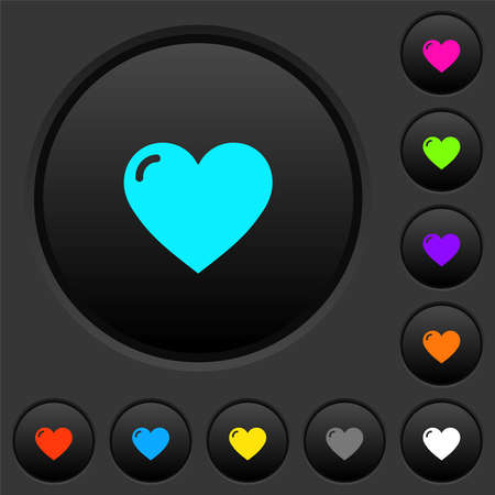 Heart shape dark push buttons with vivid color icons on dark gray background