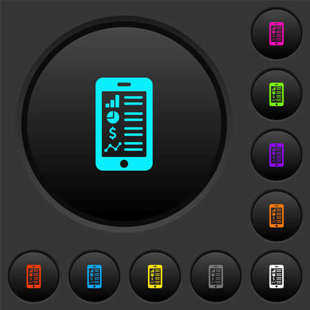 Mobile applications dark push buttons with vivid color icons on dark gray background 矢量图像