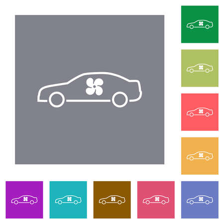 Car interior ventilation flat icons on simple color square backgrounds
