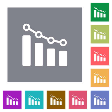 Bar graph with circles and lines flat icons on simple color square backgrounds 矢量图像