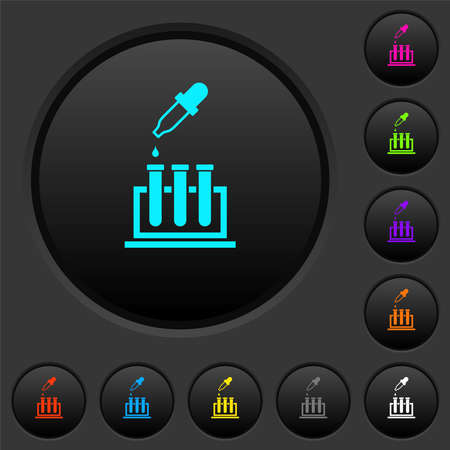 Chemical experiment dark push buttons with vivid color icons on dark gray background