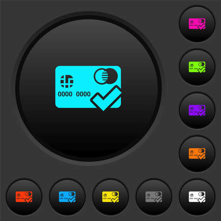Accept credit card dark push buttons with vivid color icons on dark gray background Иллюстрация