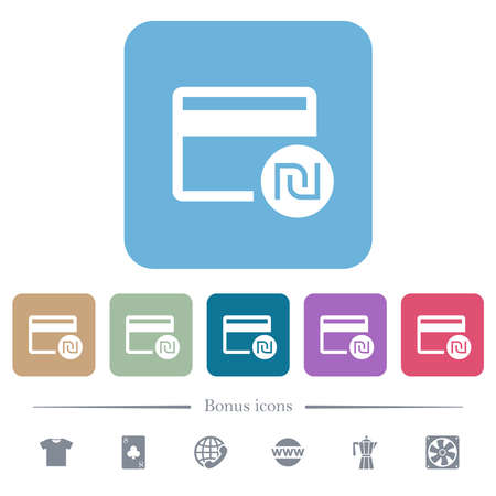 New Shekel credit card white flat icons on color rounded square backgrounds. 6 bonus icons included