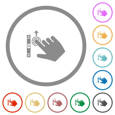 Right handed scroll up gesture flat color icons in round outlines on white background