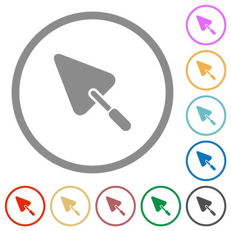 Trowel flat color icons in round outlines on white background