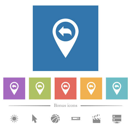 Previous GPS map location flat white icons in square backgrounds. 6 bonus icons included.