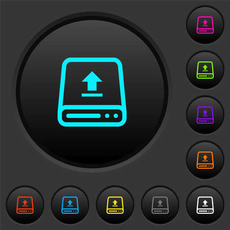 Upload from hard drive dark push buttons with vivid color icons on dark gray background
