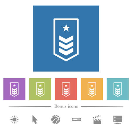 Military insignia with three chevrons and one star flat white icons in square backgrounds. 6 bonus icons included.