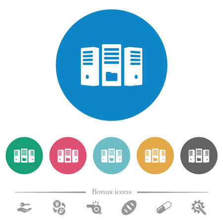 File server flat white icons on round color backgrounds. 6 bonus icons included.