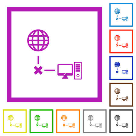 Offline computer flat color icons in square frames on white background