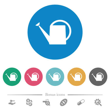 Watering can flat white icons on round color backgrounds. 6 bonus icons included.