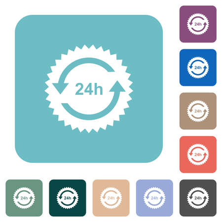 24 hours sticker with arrows white flat icons on color rounded square backgrounds