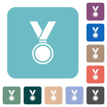 Medal white flat icons on color rounded square backgrounds Иллюстрация