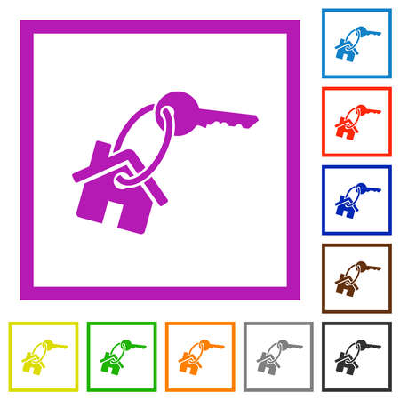 House key flat color icons in square frames on white background