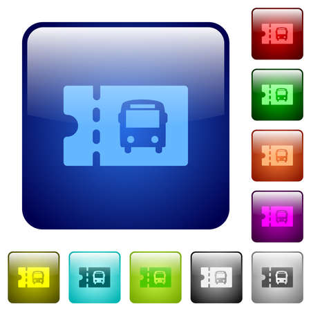 Public transport discount coupon icons in rounded square color glossy button set