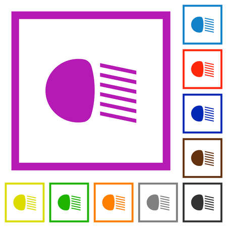 Dipped beam lights flat color icons in square frames on white background Иллюстрация