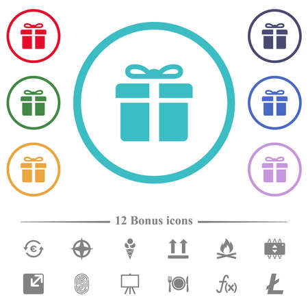Gift box flat color icons in circle shape outlines. 12 bonus icons included.