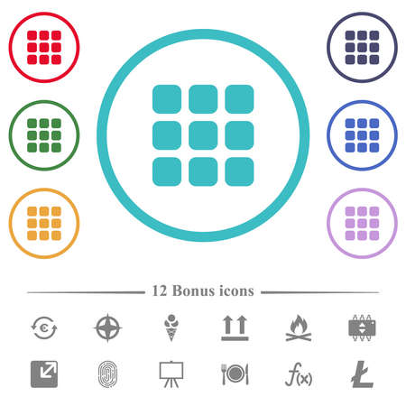 Small thumbnail view mode flat color icons in circle shape outlines. 12 bonus icons included.