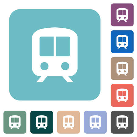 Train white flat icons on color rounded square backgrounds