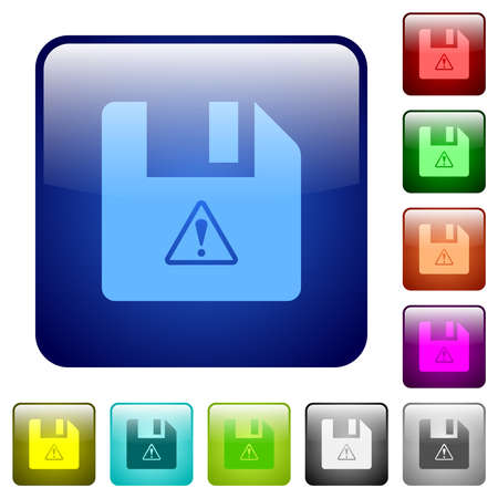 File warning icons in rounded square color glossy button set