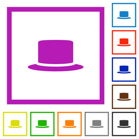 Silk hat flat color icons in square frames on white background Иллюстрация
