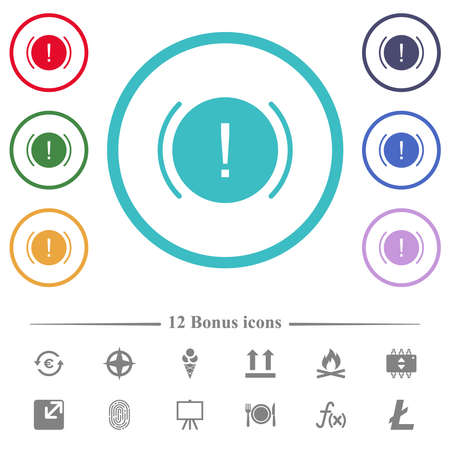 Car dashboard handbrake indicator flat color icons in circle shape outlines. 12 bonus icons included.