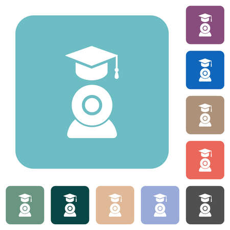 Distance learning white flat icons on color rounded square backgrounds