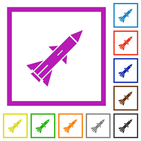 Ballistic missile flat color icons in square frames on white background
